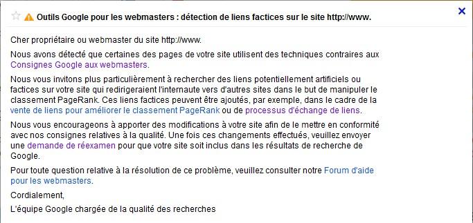 Mail recu dans Webmaster Tools quand un lien factice est trouvé par Google.