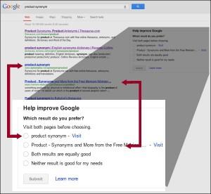 Le google feedback test pour améliorer les résultats de recherches.