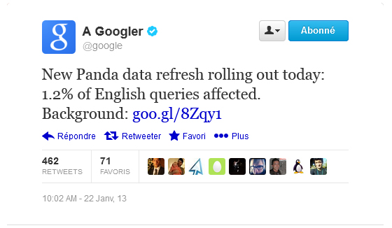 tweet google panda 24