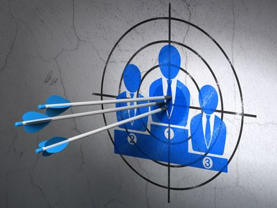 Marketing Concept: Arrows In Business Team Target On Wall